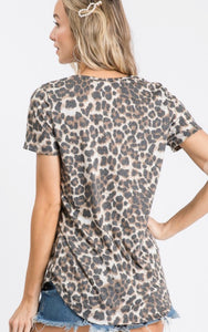 Metallic trimmed leopard top with V-neck