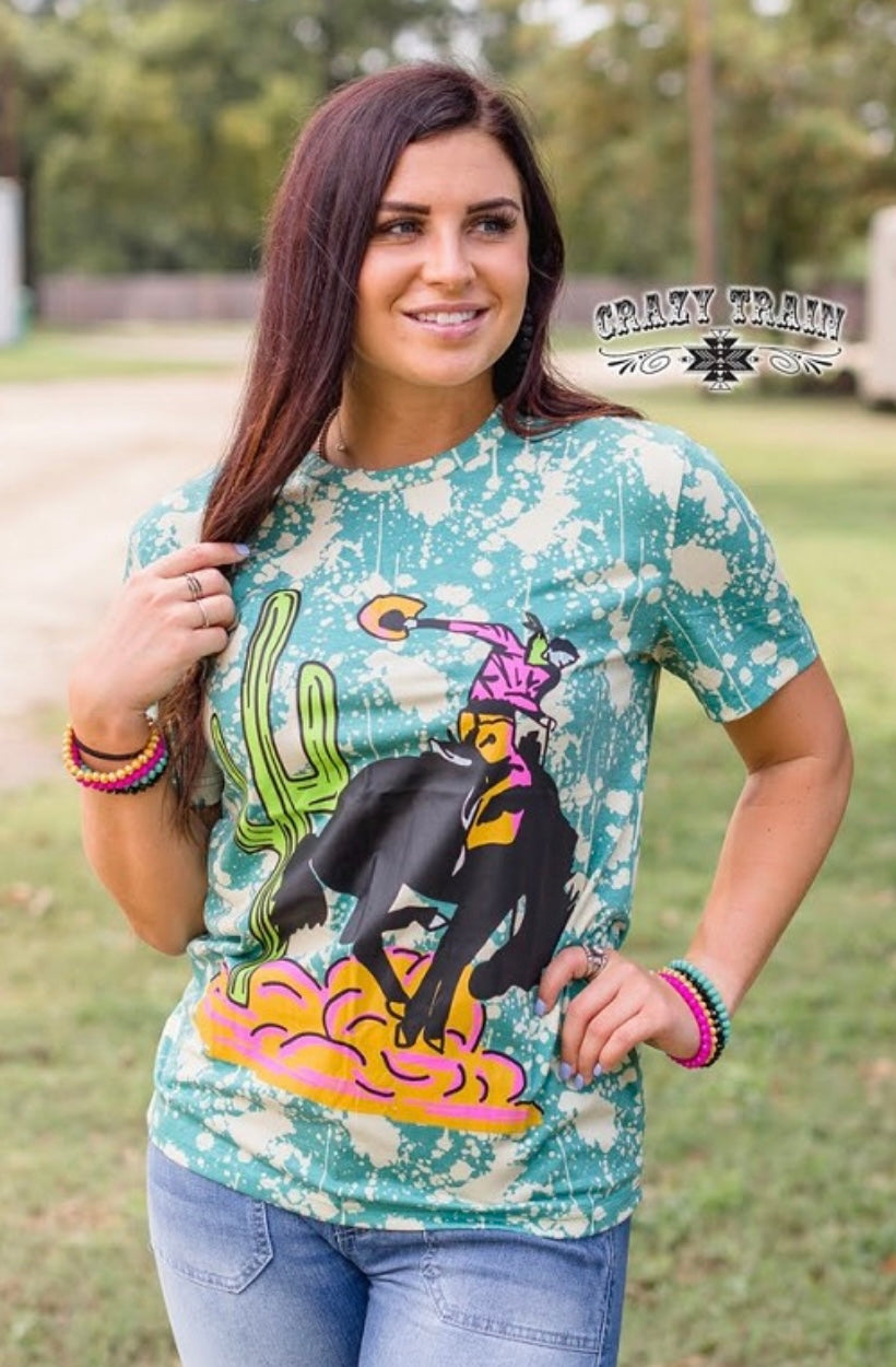 Young Gun Tee with Cactus and Steer