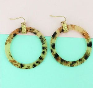Gold Tone Leopard Flat Hoop Earrings