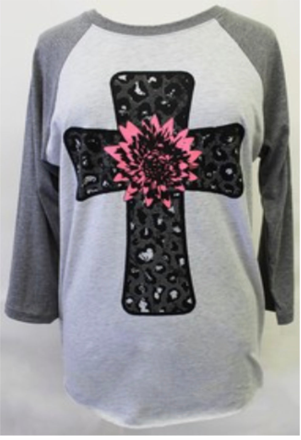 Leopard Cross with Pink flower Baseball type sleeves
