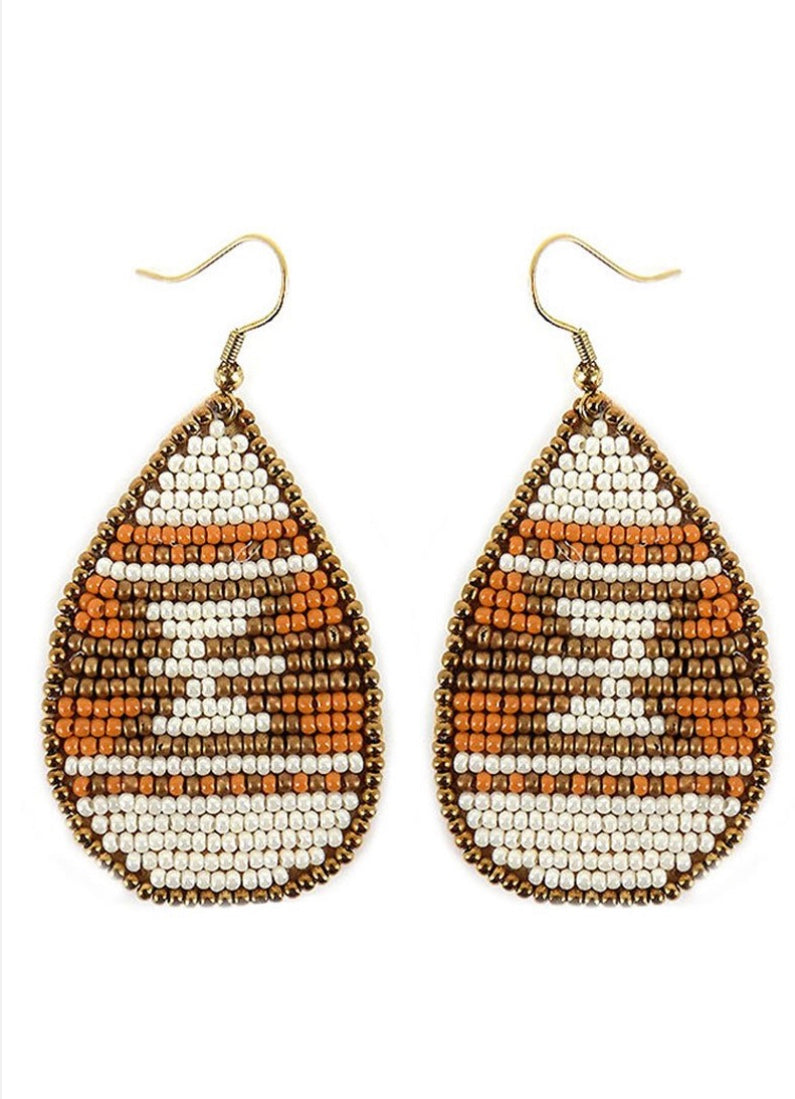 Neutral Seed Bead Aztec Teardrop Earrings
