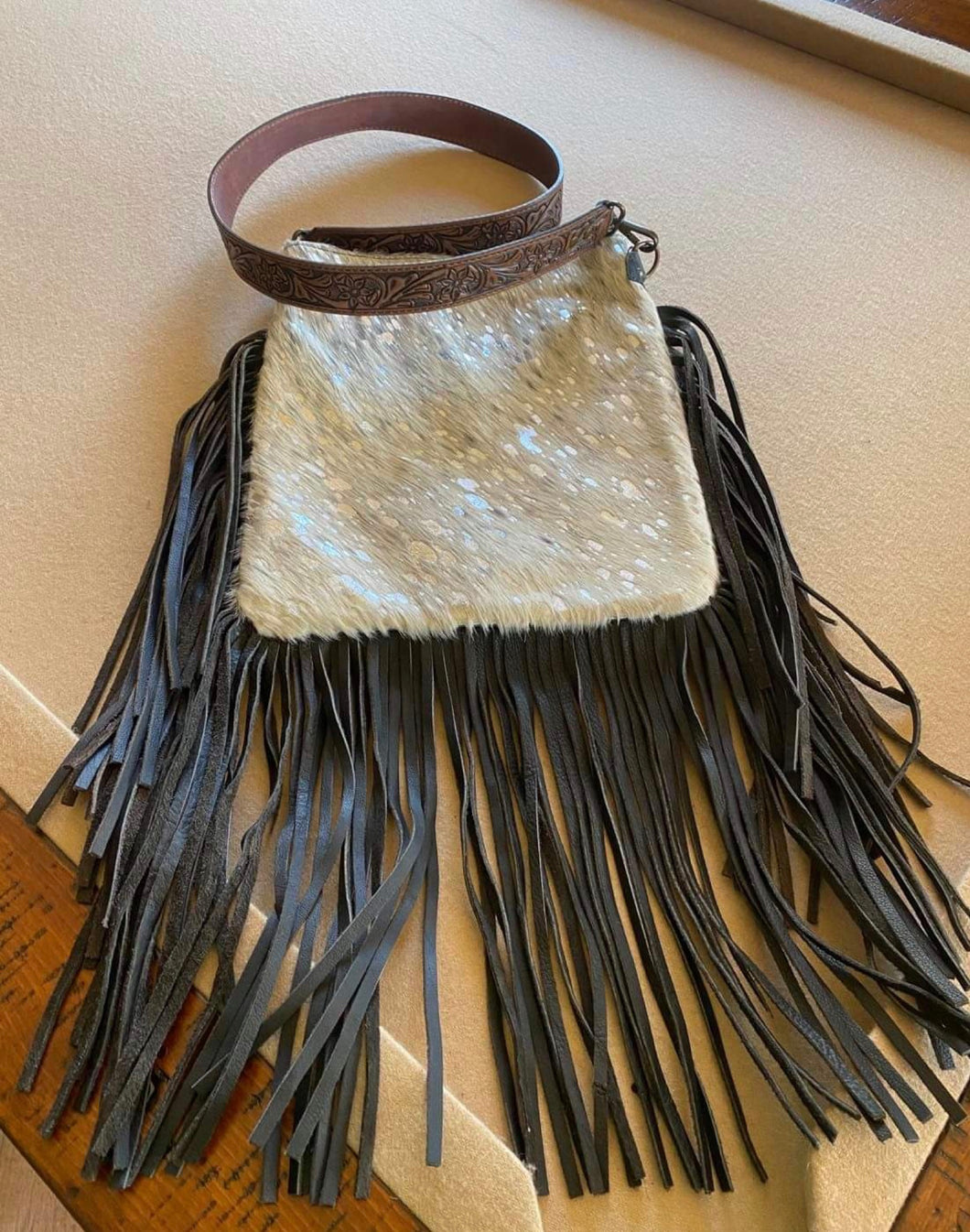 All Leather Silver and White Acid Washed Handbag with Fringe