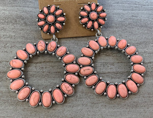Coral colored and Silver earrings