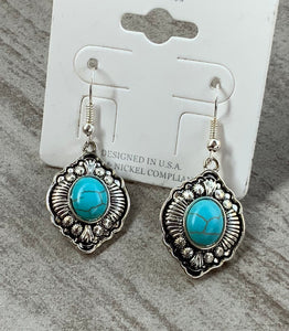 Silver and Turquoise Tear Drop Earrings