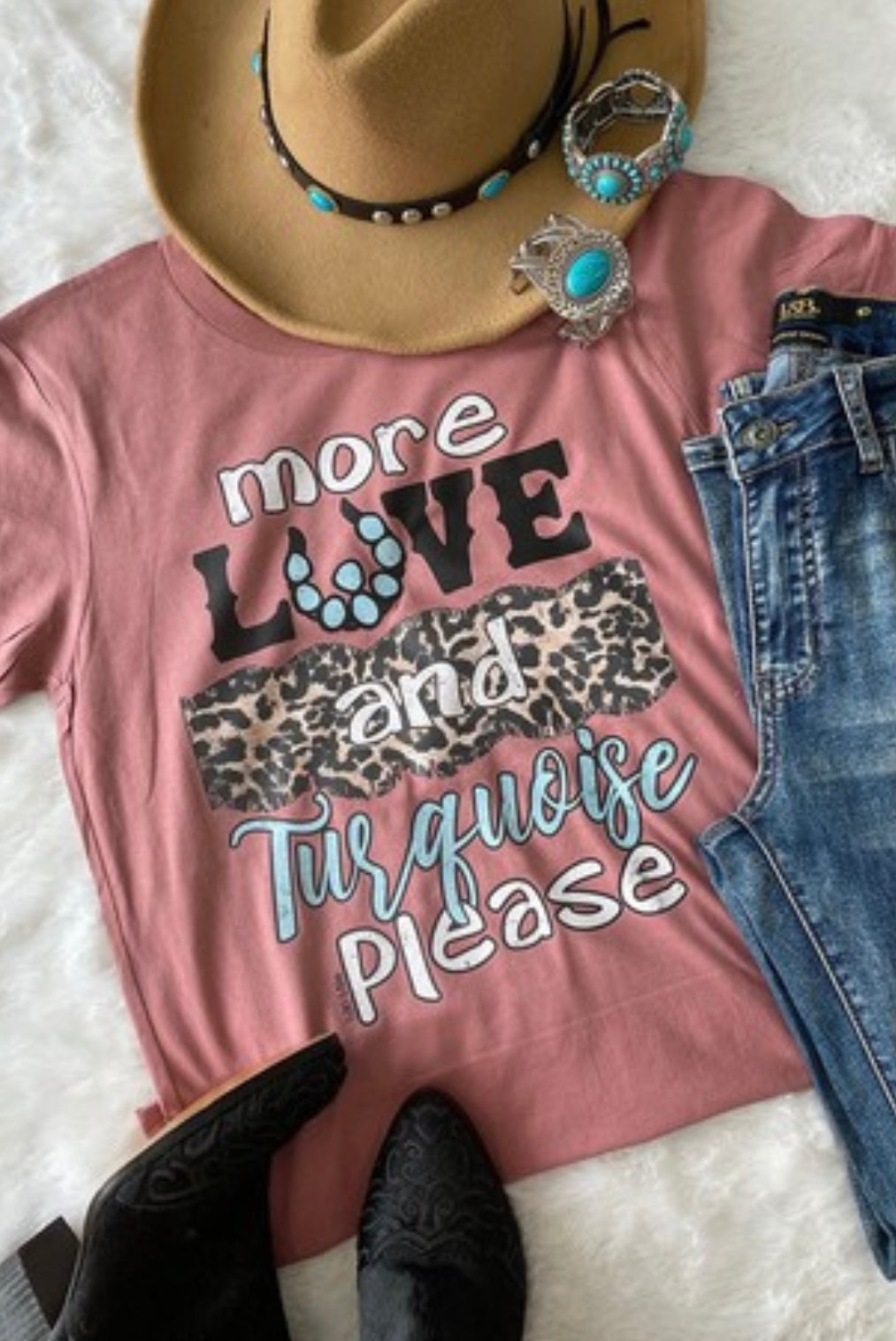 More Love and Turquoise Tee
