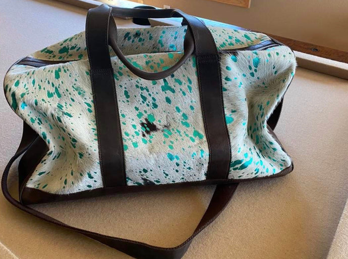 Acid Wash Leather Duffle Bag