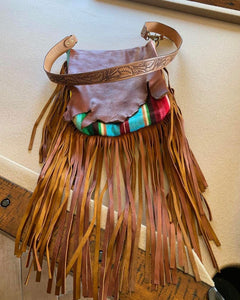 Brown Leather Handbag with Serape and Fringe