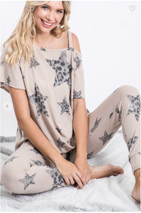 Leopard And Star Asymmetric Shoulder Knot Top with Long Lounge Pants