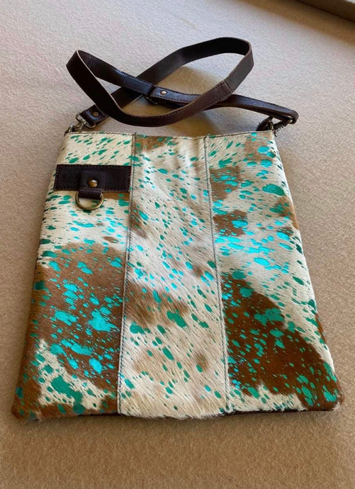 Leather Messenger Handbag with Acid Wash Turquoise with Brown and White Hair on Hide