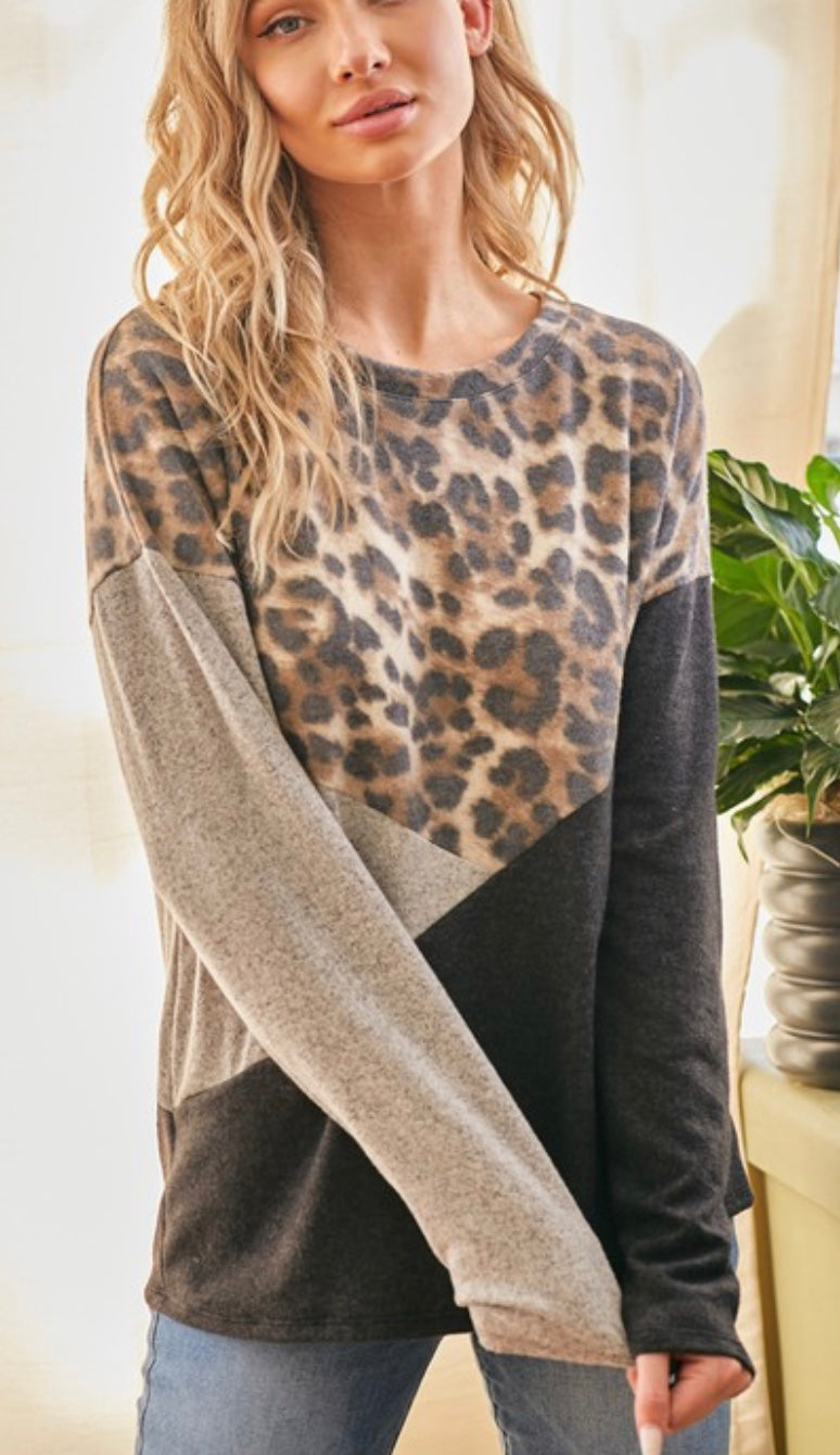 Leopard Animal Print with Contrast Color Block Tunic