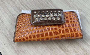 Leather Wallet with Croc design Rhinestone Studs