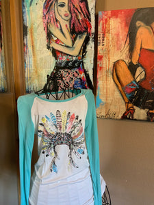 Indian Headdress Baseball Tee with Turquoise Sleeves
