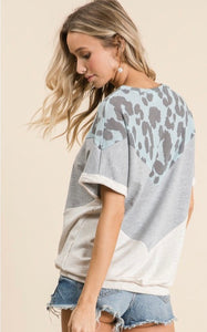 Chevron Leopard Color Block Top