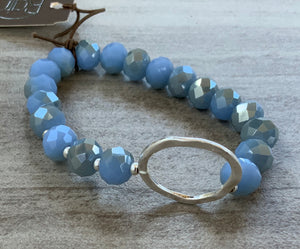 Blue Diamond Cut Beaded Stretch Bracelet with Hammered Silver center Piece