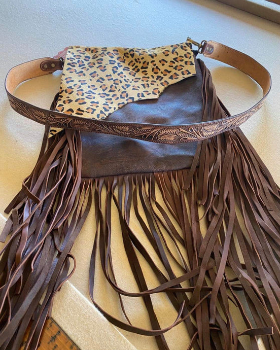 Leather Handbag With Leopard
