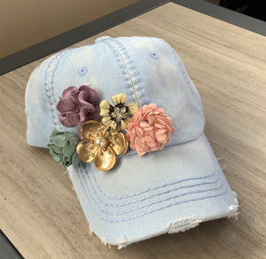 Distressed Light Denim Blue Ball Cap with Flower accents adjustable