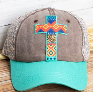 Vibrant Aztec Baseball Cap with Cross and Leopard Back