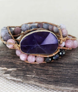Purple Pyramid Stone mixed Bead Wrap Toggle Bracelet
