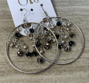 Black and Clear beaded hoop earrings
