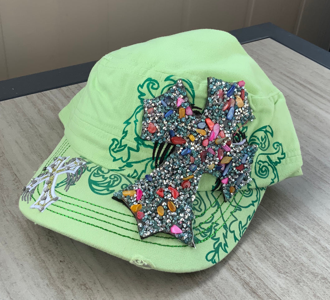 Lime Green Cadet Hat with Bling Cross adjustable