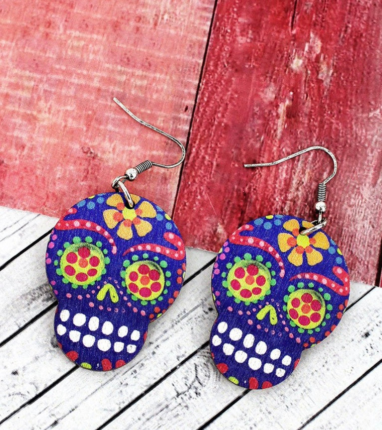 Blue Sugar Skull Wood Earrings