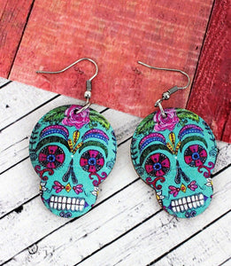 Turquoise Sugar Skull Wood Earrings