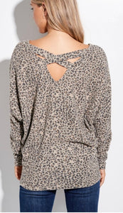 CrissCross Back Leopard Dolman Sleeve Top
