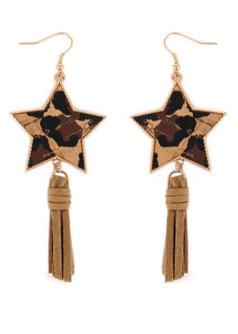 Leopard Cork Star and Brown Tassel Earrings