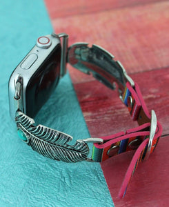 Turquoise and Silvertone Feather Serape Band for Apple Watch
