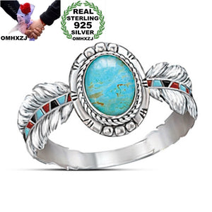 European Fashion Woman Girl Feather Oval Turquoise 925 Sterling Silver Ring