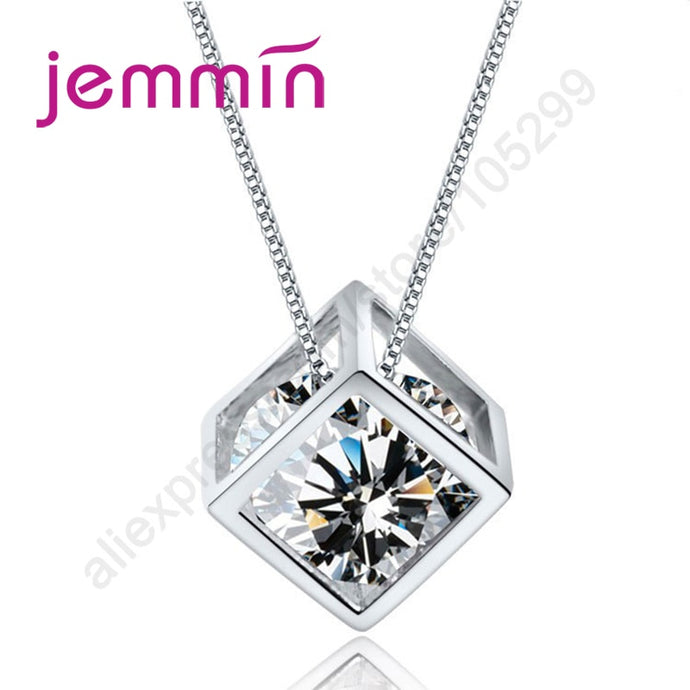 Geometric 925 Sterling Silver Pendant Necklace With Clear Crystal