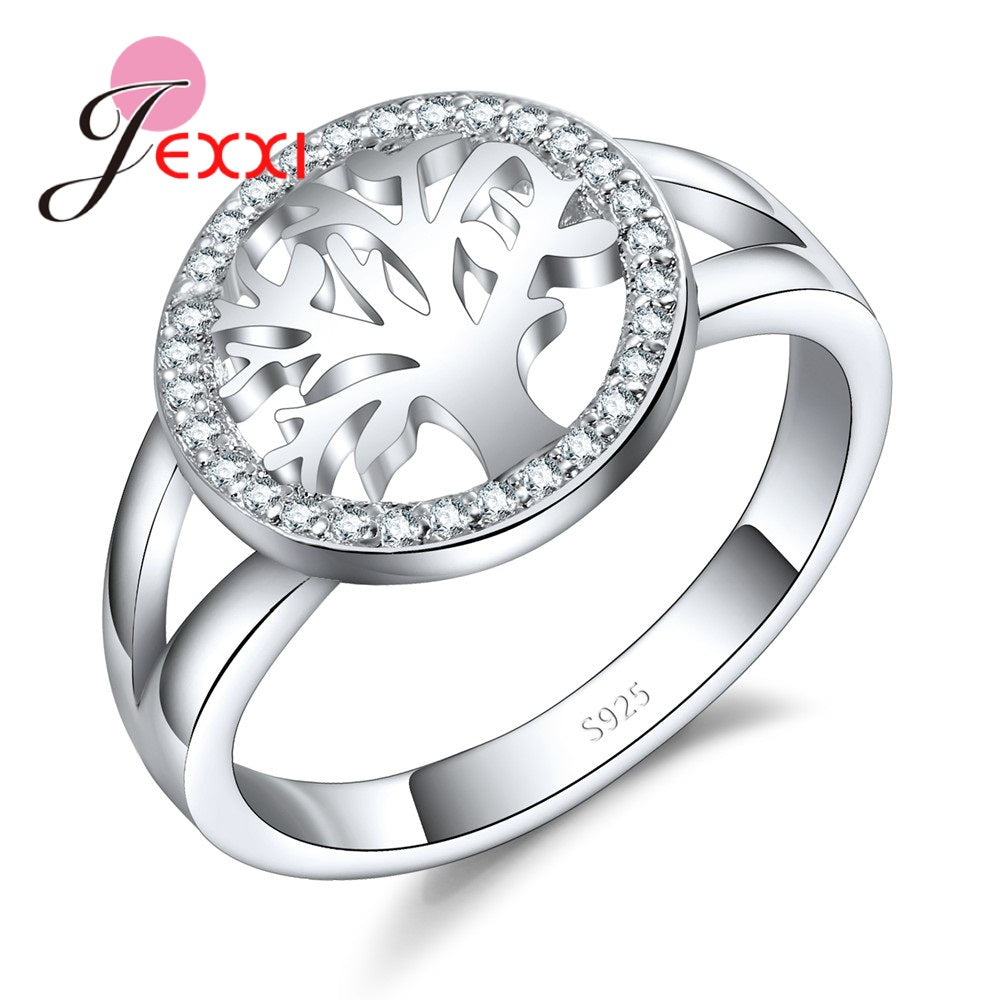 Fashion tree Ring With shiny CZ Charm 925 Sterling Silver Jewelry