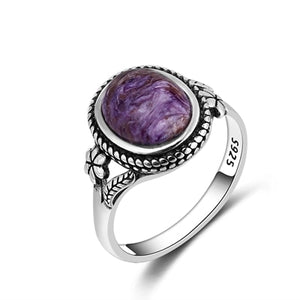 Vintage Bohemia Style 8x10MM Oval Purple Charoite Rings For Women 925 Silver Ring