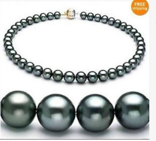 Stunning freshwater 10-12mm round black green pearl necklace 18inch