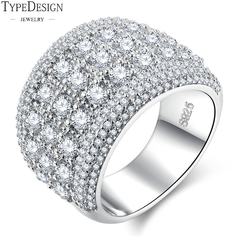 925 Sliver CZ Austria Crystal Wide Rings For Women Vintage Jewelry