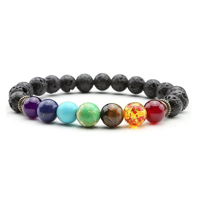 Chakra Bracelet Black Lava Healing Balance Beads Natural Stone Bracelet For Women