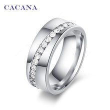 Load image into Gallery viewer, Stainless Steel Rings For Women Slash A Line Of CZ