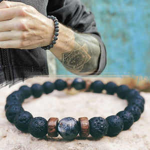Men Bracelet Natural Moonstone Bead Lava Stone