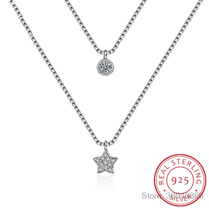 925 Sterling Silver Double Layers Necklace With Star Pendent Collarbone Necklace