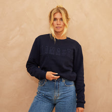 Load image into Gallery viewer, Namaste embroidered sweatshirt Navy Blue // Navy Blue