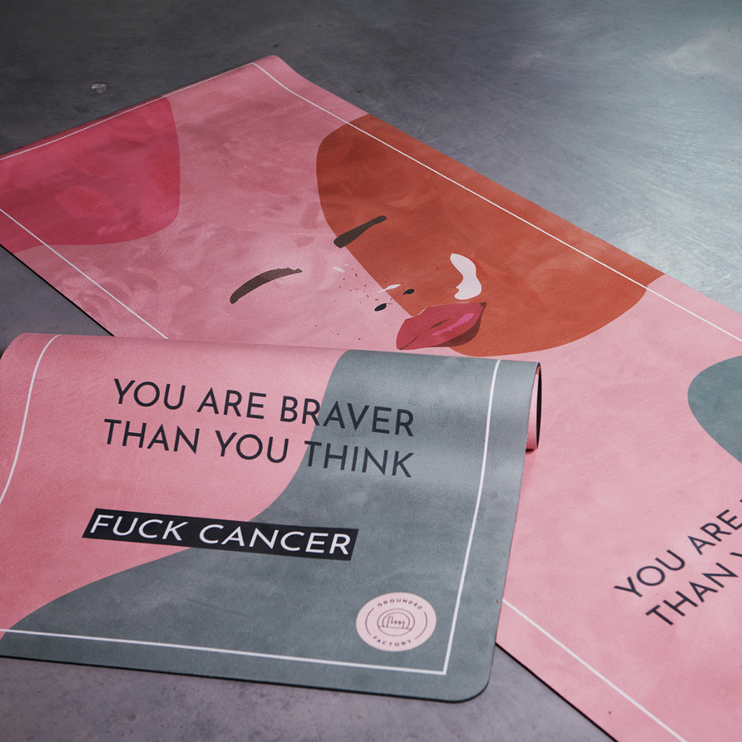 Fuck Cancer Yoga Mat by Alice Garpenschöld in collaboration with Ung Cancer