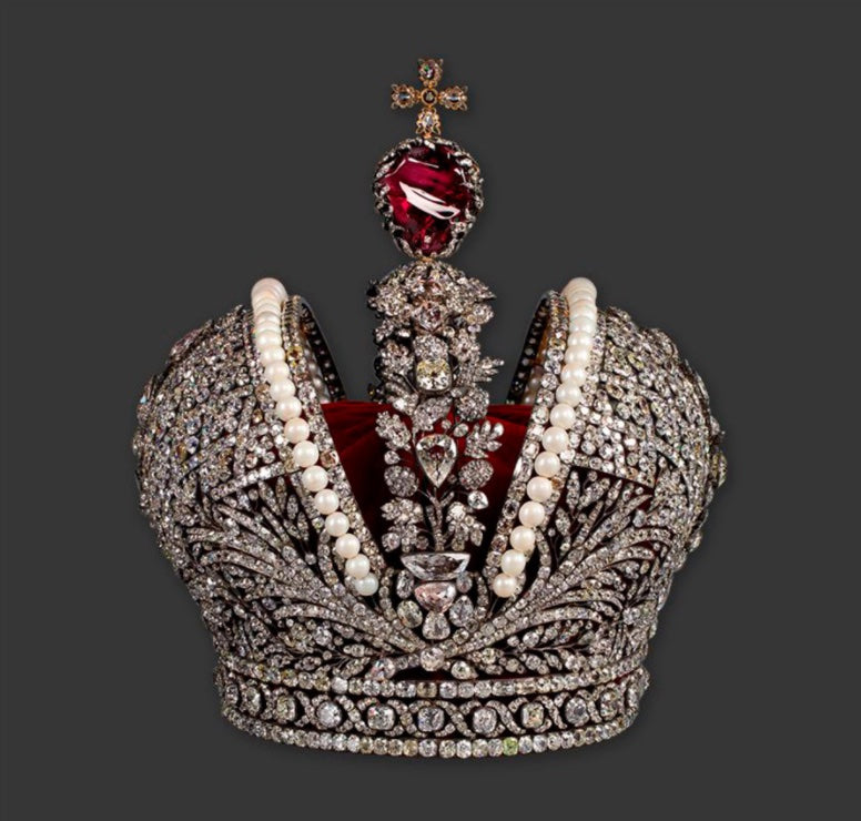 Imperial crown of Russia: Made from large diamonds, rubies and pearls