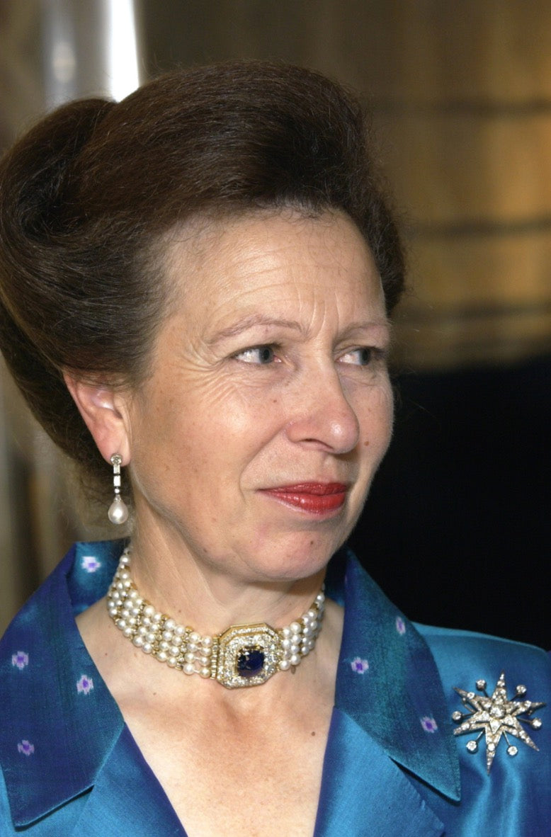 Princess Anne wearing a pearl and sapphire choker descending from the Romanov Royal family