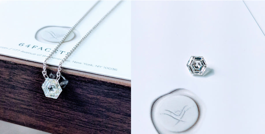 64Facets Pendant with Hexagon-Shaped Step-Cut Diamond