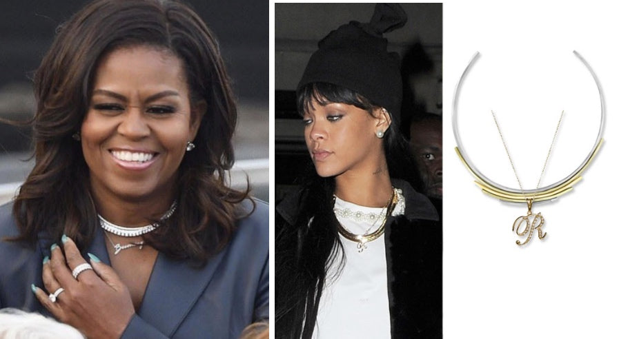 Michelle Obama and Rihanna statement necklaces