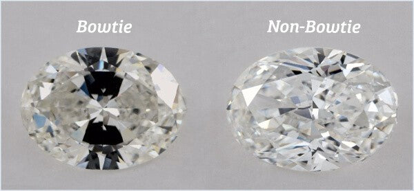 Bowtie Effect on One Oval Diamond and a Second Oval-Cut Diamond Without the Bowtie Effect