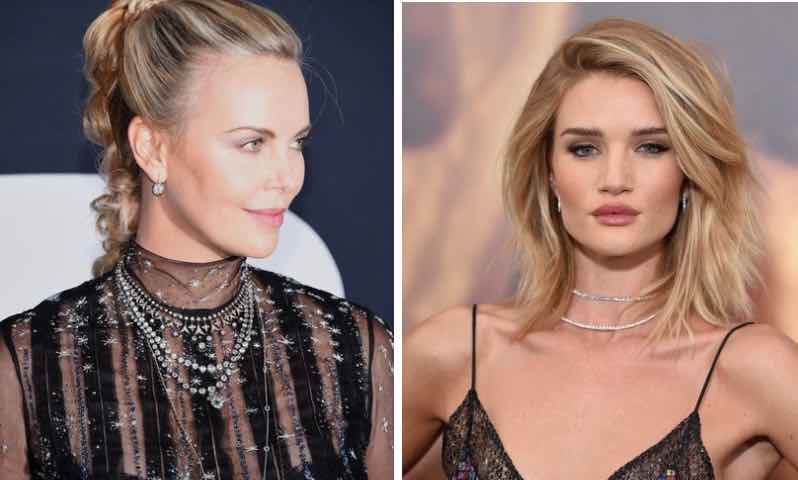 Tennis necklace layering by Rosie Huntington Whitely and Charlize Theron