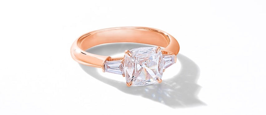 64Facets Bespoke Engagement Ring with Baguette Side Stones in 18K Rose Gold