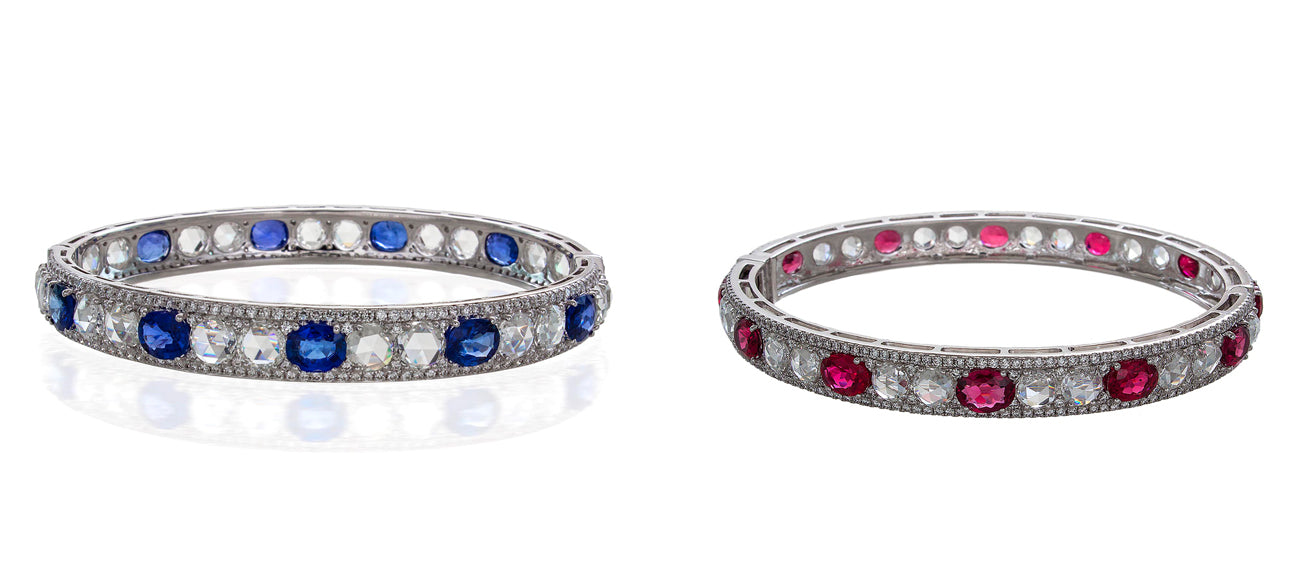 64Facets Bespoke Sapphire and Ruby and Diamond Bangle Creations