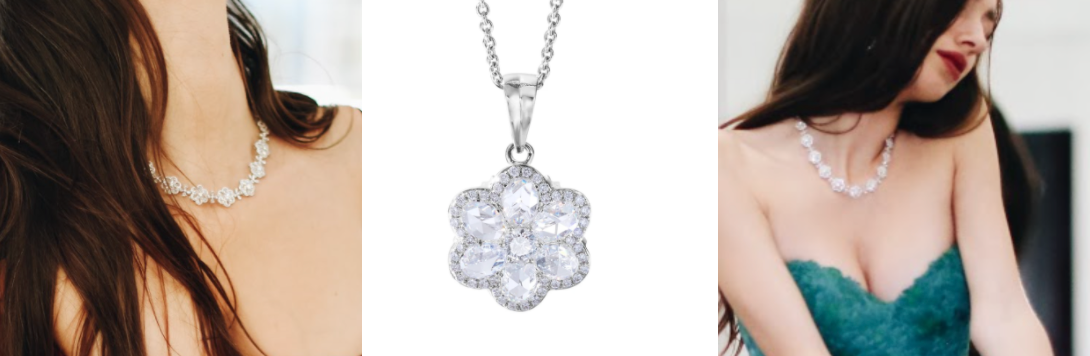 Floral Diamond Pendant Necklace